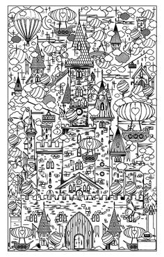 Free coloring page coloring-architecture-17. Vertical city