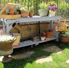 Gardening bench with hanging tools