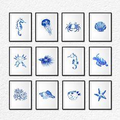 Coastal prints, Sea life print set of 12 wall art, Nautical art, Beach decor, Watercolor sea creature Axolotl Betta fish Starfish Pufferfish
