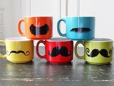 DIY Colorful Mustache Mugs - CraftsbyAmanda.com