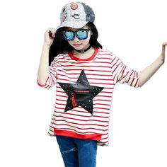 >> Click to Buy << 2017 New Girls T-Shirts For Kids Fashion Cute Star Striped O-neck Teen T-shirt Clothes For Girls Children Clothes t-shirt #Affiliate