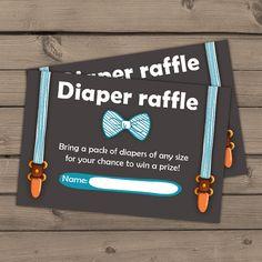 Baby shower Diaper raffle card Little man by Anietillustration