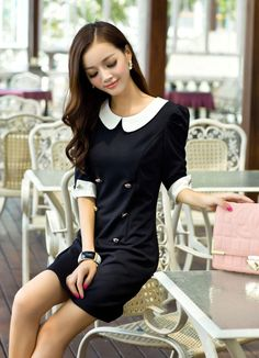Black and White Round Classic Collar Double Breasted Korean Trendy Mini Dress 2
