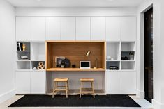I found this home for sale when scrolling through real estate listings (as you do! It's located in Pymble, Sydney NSW. If you love built-in cabinetry you'll love this home! It's ultra modern and yes it's styled up within an inch. Retro Furniture Makeover, Home Office Furniture Design, Home Office Design, Home Office Decor, Modern House Design, Modern Interior Design, Office Nook, Office Ideas, Attic Master Bedroom