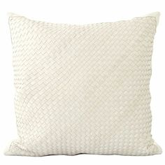 GraciousStyle.com Lance Wovens Watercolor White Leather Pillow