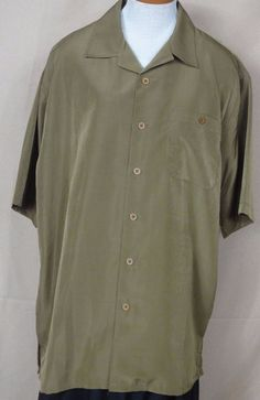 Gochu Men's Green Button front, Polyester, short sleeve, shirt Size XL, #Gochu #ButtonFront