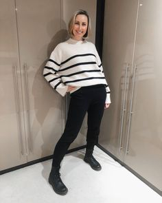Striped sweater worn with leggings and boots | For more style inspiration visit 40plusstyle.com How To Wear Leggings, Photos Of Women, Fashion Over 40, Trousers, Normcore, Style Inspiration, Boots, Sweaters, Trouser Pants