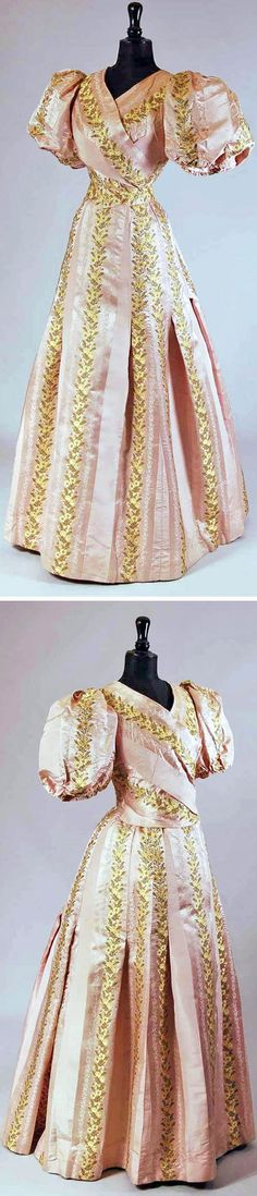 Evening dress ca. 1895. Pink silk  with woven satin stripe with floral vines in pale yellow, yellow and green. Two pieces plus belt & petticoat. Probably made from older gown from the 1860s. Mode Museum, Antwerp