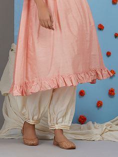Blue Embroidered Chanderi Silk Kurta with Navy Blue Cotton Satin Pants - Set of 2 Salwar Designs, Kurti Neck Designs, Dress Neck Designs, Kurta Designs Women, Kurti Designs Party Wear, Blouse Designs, Salwar Pants, Kurta With Pants, Embroidery Suits