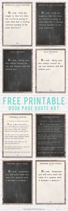 Free Printable Book Page Quote Page Art