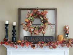 fall mantle decor looking for ideas to decorate with my new old windows Old Window Crafts, Old Window Decor, Window Ideas, Door Crafts, Autumn Decorating, Decorating Ideas, Fall Mantel Decorations, Mantle Ideas, Church Decorations