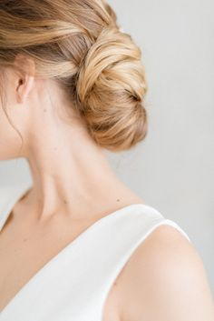 A beautiful low chignon is always a great wedding hair option.