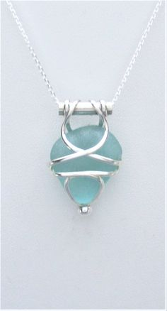 Sea Glass Jewelry - Sterling Caged Aqua Sea Glass Necklace by SignetureLine on Etsy