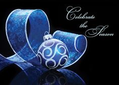 "Blue Delight - Holiday Greeting Cards-The Office Gal This cards shows a blue and silver foil ornament and ribbon with black background. The sentiment ""Celebrate the Season"" shows brightly in silver foil."