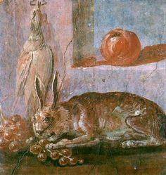 Imperial Roman Fourth Style Fresco -- Still Life Detail w/ rabbit, fruit & birds -- Excavated from Fresco, Roman History, Art History, Ancient Rome, Ancient Art, Art Romain, Tempera, Pompeii And Herculaneum, Décor Antique