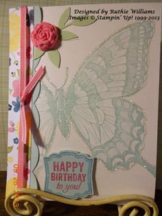 Swallowtail Butterfly with clay molded Flower....NEW from Stampin' Up!