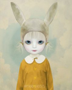 Tilly Digital Painting Art Print 10x8 van littleghost op Etsy, $17.00