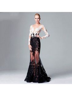 Mermaid Black White Lace Long Sleeves Prom Formal Evening Dresses