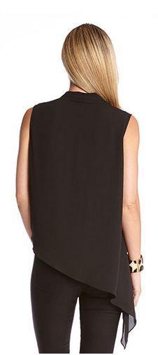 BLACK  ASYMMETRICAL HEM CROSSOVER TANK #Sexy #Black #Asymmetrical #Hem #Crossover #Tank #Top #Fashion