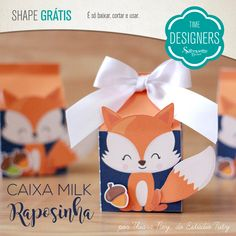 Como Fazer Caixa Milk Personalizada - Molde Gratuito Fuchs Silhouette, Baby Shower Wrapping, Fox Party, Butterfly Birthday Party, Candy Bar Party, Woodland Critters, Ideas Para Fiestas, Woodland Party, Baby Boy Shower