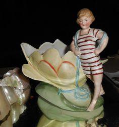 FOR SALE ON EBAY - Vintage Bathing Beauty Bisque Figurine Vase Fish Bowl Aquarium Interest   eBay