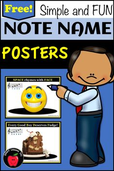 FREE fun set of note naming posters to help students read line and space notes on the Treble and Bass Clef Staves. These treble and bass clef printables will help kids experience success with music note recognition. Can be found at Teachers Pay Teachers at the Smart Lessons 101 store. Music Sub Plans, Music Lesson Plans, Music Lessons, Music Theory For Beginners, Basic Music Theory, Elementary Music, Elementary Education, Music Education, Music Activities