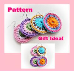 Instant Download Colorful Crochet Earrings Pattern by OnHeaven, $3.90