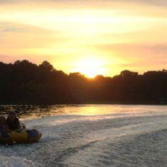 Tubing at sunset