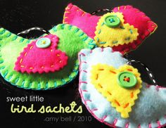 Felt bird sachets | Positively Splendid {Crafts, Sewing, Recipes and Home Decor}  Craft Night???