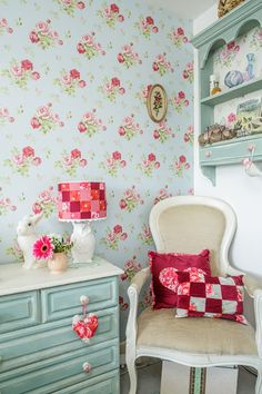Vintage floral walalpaper and patchwork lamp cover