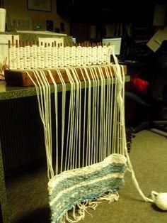 Donetta's loom and first rug! Tapestry Weaving, Loom Weaving, Peg Loom, Rag Rugs, Fibre Art, Gourd Art, Rug Hooking, Crochet Crafts, Tapestries