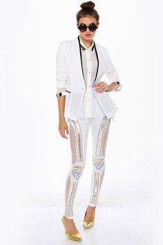 Did I Stud-her? Studded White Leggings (lulus)