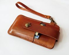iPhone 5 5s 5c Sleeve - Brown Leather iPhone 5 Case with Crown Button Pull Tap - Easy to Take out - for iPhone 5 5s 5c - Handmade