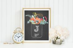 Mason Jar with Flowers Monogram Art, Nursery, Letter, Initial, Print,Girl, Wall Decor,mint yellow,coral,custom digital Printable Gray Frames