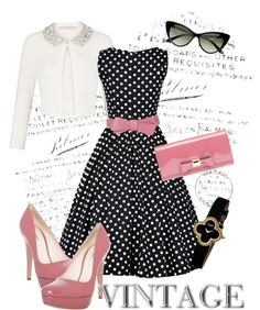 """Classic Polka Dots"" by summrlynn ❤ liked on Polyvore Make it with flats instead of heels. -Thaba"