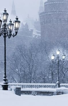 Moscow in winter, during the snowfall.