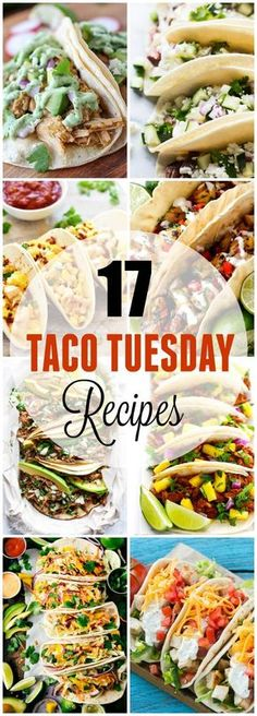 """Dress up """"Taco Tuesday"""" with these 17 Creative Taco Tuesday Recipes! Several unique but easy to make taco recipes you'll love, all together in one place! Easy to make flavorful meats, salsas loaded up with fruits and spice, and some creative classic comfort foods adapted for tacos!"""