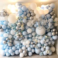 "Bubblegum Balloons 🎈 on Instagram: ""The cutest baby shower decor! 💙 How magical is our pastel blue and floral baby shower wall? 💙🏵 @sg.kids @SarahGorlov 💙 💙 💙 💙 #babyshower…"""