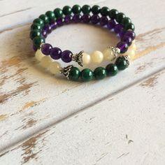 Iris Bracelet Set of 2 ~ Genuine Amethyst, Malachite & Yellow Calcite Bracelets ~ Choice of 6mm or 8mm
