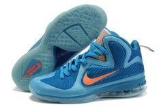 2013 pas cher Nike Zoom Lebron 9 IX Homme Chaussure en vente Bleu Orange