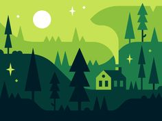 Forest by Alex Pasquarella  Greenry, flat, graphic, forest, simple, green cabin, trees