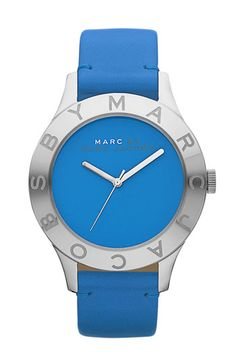 MARC BY MARC JACOBS 'Blade' Round Leather Strap Watch