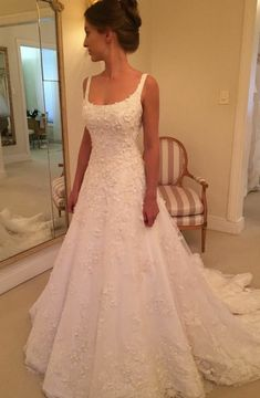 A-Line Scoop Sweep Train White Tulle Sleeveless Wedding Dress with Appliques