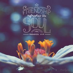 Friendship refreshes the soul. Proverbs 27:9