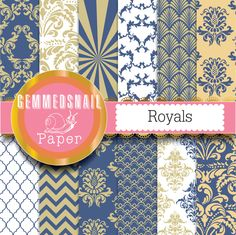 Navy and gold digital paper, blue damask digital paper, navy and gold backgrounds 12 blue and gold scrapbook papers.