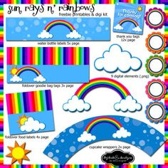 rainbow printables, bottle label, treat bag topper and more