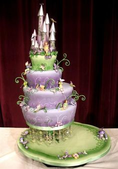 Little girl's dream cake with room at the bottom for cupcakes