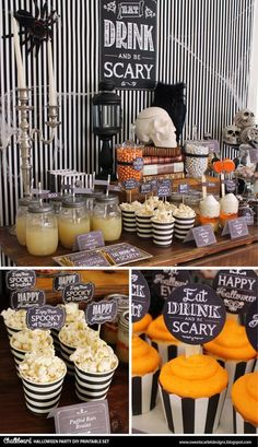 HALLOWEEN Chalkboard Printable Set – Eat, Drink and Be Scary, cupcake toppers, favor tags, party sig - Halloween Party Halloween Snacks, Spooky Halloween, Halloween Tableau, Halloween Tafel, Cocktails Halloween, Feliz Halloween, Diy Halloween Decorations, Baby Halloween, Halloween Dessert Table