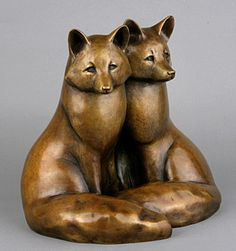 "Can you tell them apart? This is ""Twin Foxes"" by bronze sculptor Georgia Gerber. Click the image to see more."