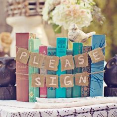 """Vintage Book Classroom ideas. Need I say more? This could be awesome for the """"guest book"""" area and whatnot..or an idea for the shower!"""